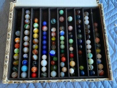 Antique Collection Of Marbles In Old Cigar Box