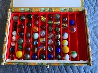 Antique Collection Of Large Marbles In Old Cigar Box