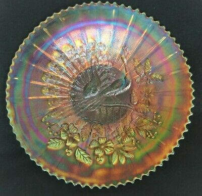 Spectacular Northwood Stippled Pumpkin Marigold Peacocks Carnival Glass Plate