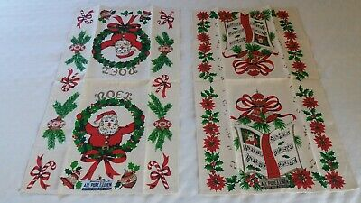 Vintage Pair CHRISTMAS Linen Towels Tags On PARISIAN PRINTS-Santa-Presents