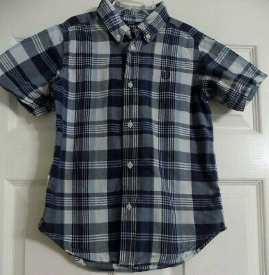 Boy's Chaps Navy Blue & White Button Up Front Shirt Size 7 Short Sleeve Plaid
