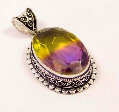 Ametrine Quartz .925 Silver Plated Carving Pendant Jewelry JC6698
