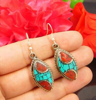 Turquoise & Coral .925 Silver Plated Handmade Earring Jewelry NJ874