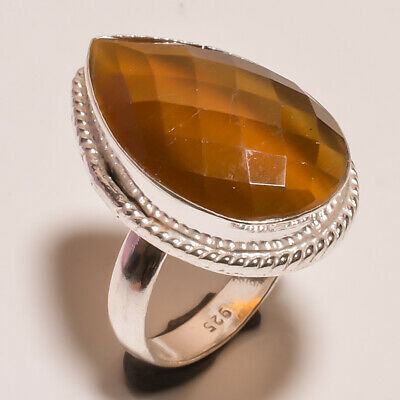 Tiger's Eye .925 Silver Plated Carving Ring Size-8 Jewelry JA787