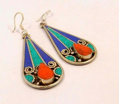 Turquoise , Lapis & Coral .925 Silver Plated Handmade Earring Jewelry JC6591