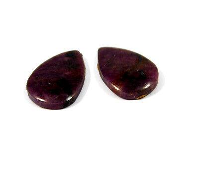 21 Cts. 100% Natural Pair Of Pear Ruby Loose Cabochon Gemstone RRM19179