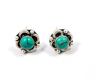 Turquoise .925 Silver Plated Handmade Stud Earring Jewelry JC8171