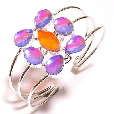 Faceted Mystic Topaz Quart .925 Silver Bangle Cuff Beautiful Jewelry R1003-R1090