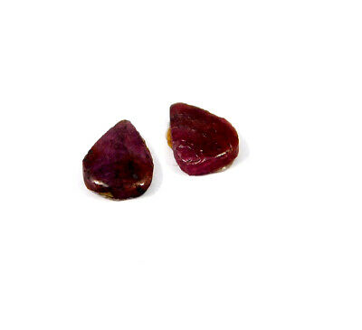 7 Cts. 100% Natural Pair Of Pear Ruby Loose Cabochon Gemstone RRM19151