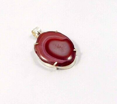 Red Botswana Slice Agate .925 Silver Plated Handmade Pendant Jewelry JC6810
