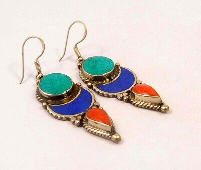 Turquoise , Lapis & Coral .925 Silver Plated Handmade Earring Jewelry JC6530