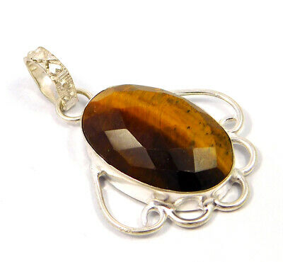 Tiger's Eye .925 Silver Plated Handmade Pendant Jewelry JC4780