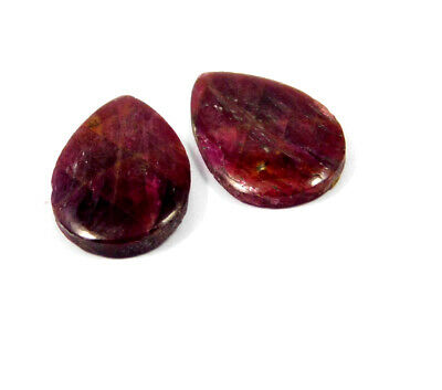 23 Cts. 100% Natural Pair Of Pear Ruby Loose Cabochon Gemstone RRM19139