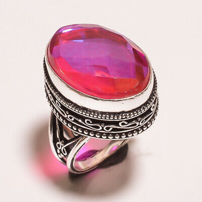 Mystic Topaz Quartz .925 Silver Plated Carving Ring Size-7.50 Jewelry JA645