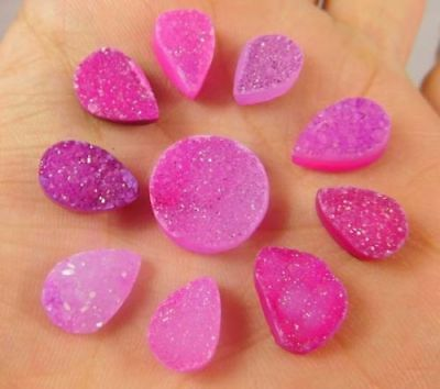 Natural Dyed Baby Sugar pink Druzy Agate Lot Cabochon Gemstone  32ct ND787
