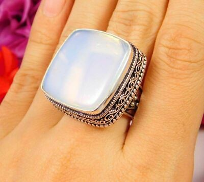 Lovely Opalite Opal Silver Hand Carving Jewelry Ring Size 7.75 JC3056