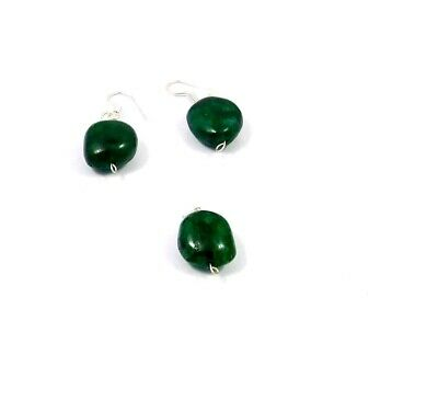 Dyed Emerald .925 Silver Plated Handmade Pendant With Earring Jewelry JC10004
