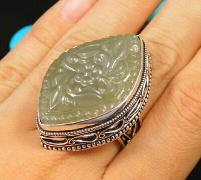 Charming Chalcedony Silver Carving Jewelry Ring Size 7.75 JC1642