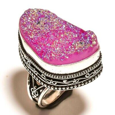 Charming Pink Druzy Silver Carving Jewelry Ring Size 7 F142