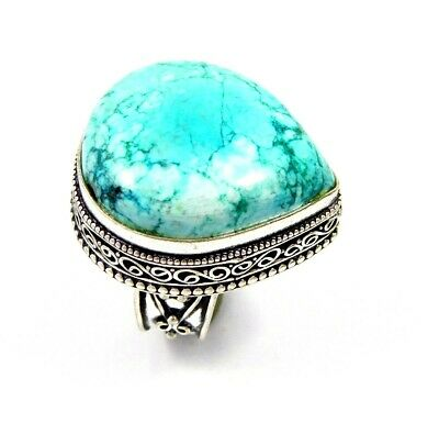 Lovely Turquoise Silver Hand Carving Jewelry Ring Size 9 JC3344