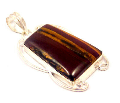 Red Banded Agate .925 Silver Plated Handmade Pendant Jewelry JC4660