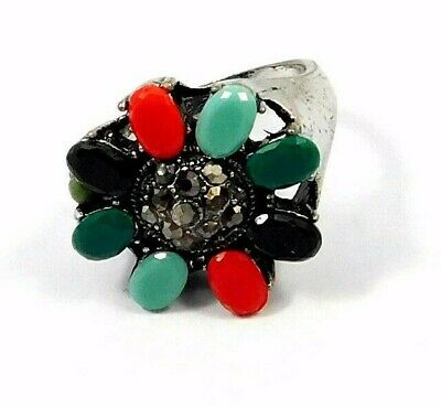 Charming Multi Stone Silver Designer Jewelry Ring Size 7 JC9086