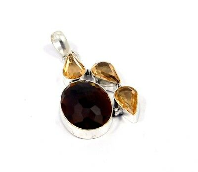 Smoky Topaz & Citrine Quartz .925 Silver Awesome Pendants Jewelry JC7655