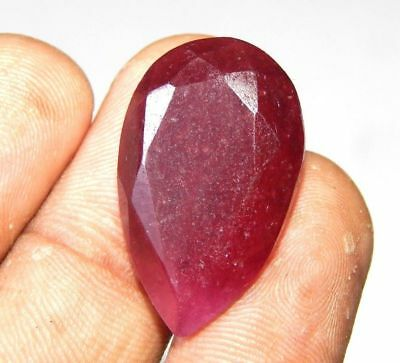 Lab-created Faceted Dyed Ruby Gemstone 21 ct 23x16mm F490