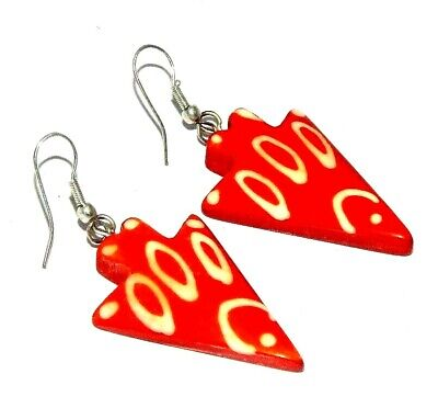 Graceful Fashion Orange Colour Painted Design Bone Earrings Antique Jewelry J442