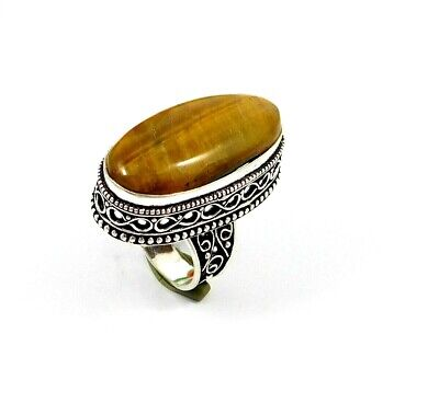 Charming Tiger's Eye Silver Carving Jewelry Ring Size 7 JT2366