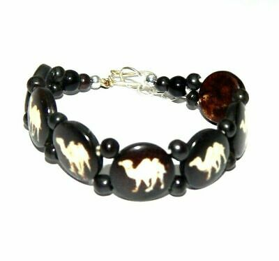 Graceful Fashion Painted Design Bone Bracelets With Chain Antique Jewelry B1290