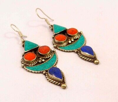 Turquoise , Lapis & Coral .925 Silver Plated Handmade Earring Jewelry JC6546