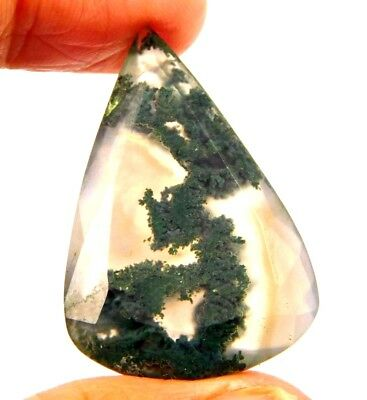 100% Natural Faceted Moss Agate Cut Loose Gemstones 27 CT 31X21mm..NG18482