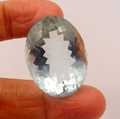 28 ct Awesome Treated Faceted Aquamrine Cab Loose Gemstones RM13823