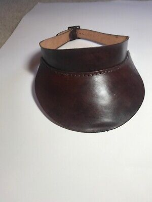 Custom Made Leather Visor Hand-Crafted Plain Hand Stitched Dark Brown Adjustable