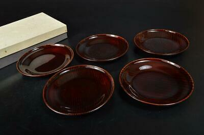 S8408: Japanese Wooden Lacquer ware SERVING PLATE/dish 5pcs, Tea Ceremony
