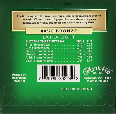 Martin M170 80/20 Bronze Acoustic Guitar Strings, Extra Light - 3 Pack with