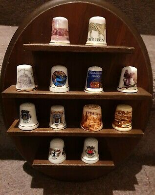 Vintage Hardwood Timber Oval Wall Rack for 12 Thimbles Sewing Collectable