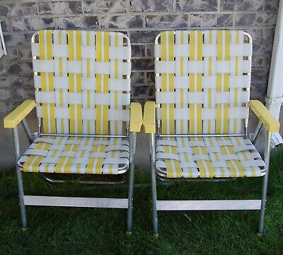 Vintage Webbed Aluminum Mid Century Lawn Chairs Beach Yellow Folding Matching