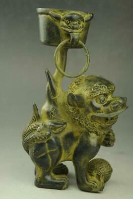 chinese old feng shui copper hand engraving lion lampstand Statue NR f02