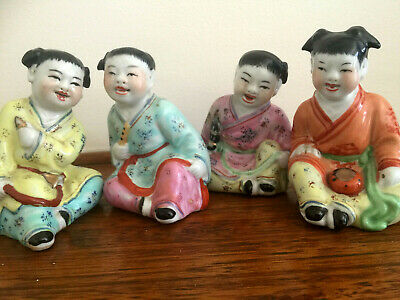 4 Chinese republic period porcelain child statue figurine musicians