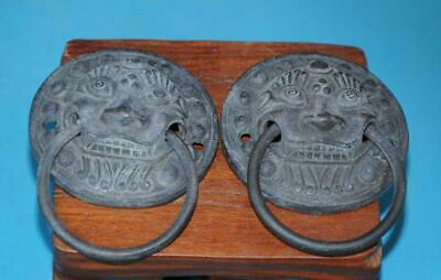 a pair chinese old collection hand carving copper lion statue knocker b01
