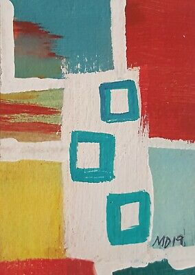 Aceo Outsider Brut Art Abstract Folk Bipolar Artist Marci D. Acrylic Painting