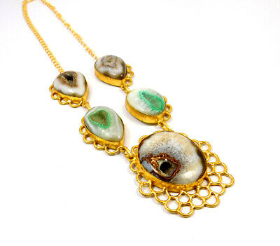 Window Druzy Agate Gold Plated Necklace Fashion Jewelry Festival Gift A1021