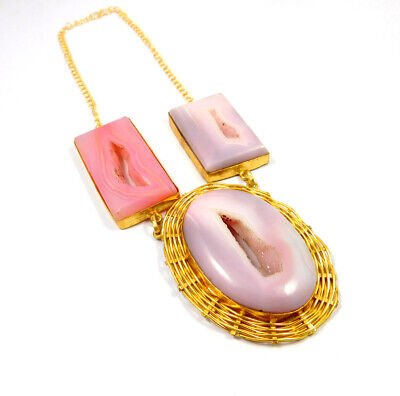Window Druzy Agate Gold Plated Necklace Fashion Jewelry Festival Gift A1014