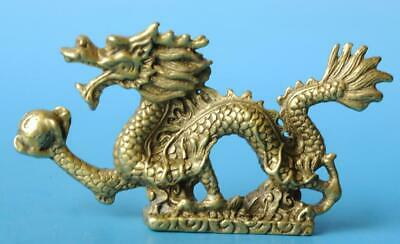 Chinese old fengshui copper hand-carved Dragon play pearl statue d01