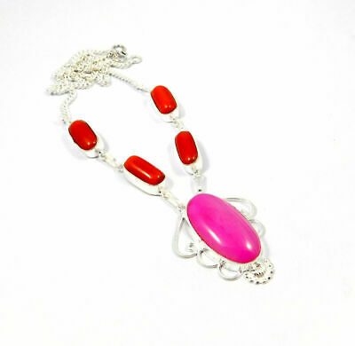 Coral & Botswana Agate Stone Necklace Silver Plated Bohemian Fashion Gift KD79