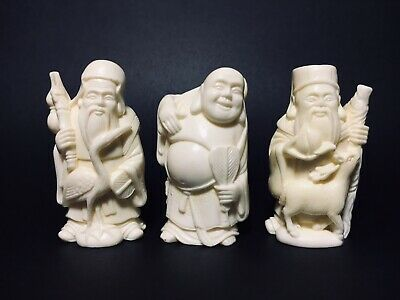 3 Vintage Molded Resin Figirines Chinese Men Shou Xing Longevity Buddha