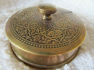 Victorian or Georgian Revolving Brass Desk top match container and striker