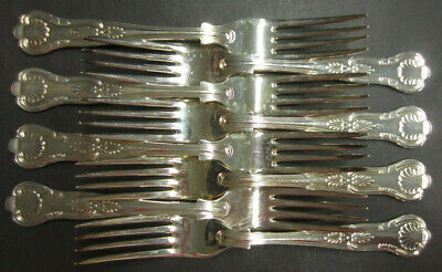 Vintage Set Of 8 Silver Plated Kings Pattern Dinner Forks - Epns A1 Sheffield
